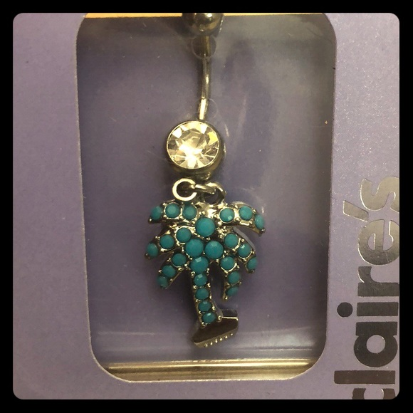 Nwt Palm Tree Dangly Belly Button Ring Nwt